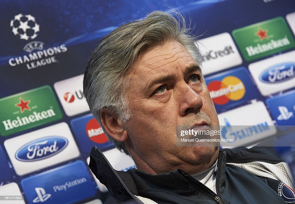 Head Coach Carlo Ancelotti of Paris Saint-Germain attends a press conference ahead of their UEFA Champions League round of 16 match between Valencia CF and Paris St Germain at Estadi de Mestalla on February 11, 2013 in Valencia, Spain.