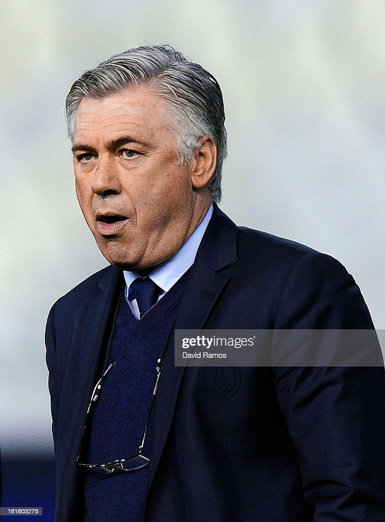 Head coach Carlo Ancelotti of Paris Saint-Germain looks on prior to the UEFA Champions League Round of 16 first leg match between Valencia CF and Paris St Germain at Estadi de Mestalla on February 12, 2013 in Valencia, Spain.
