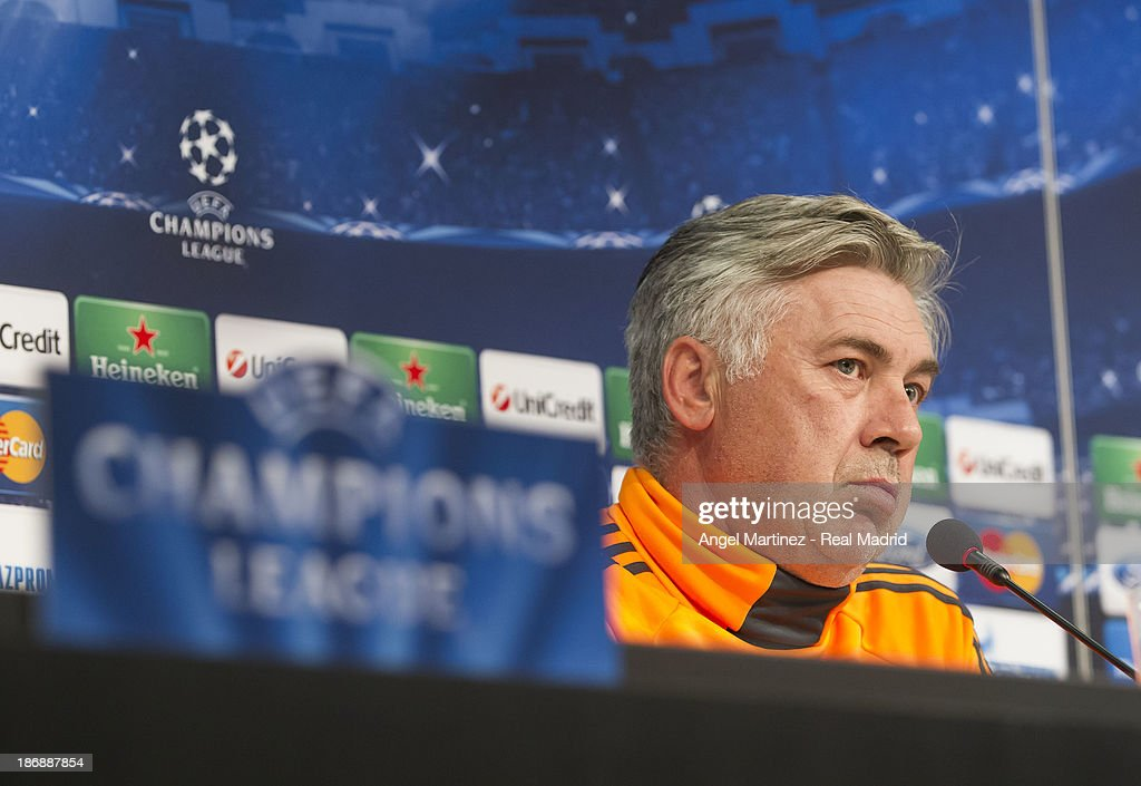 Head coach <a gi-track='captionPersonalityLinkClicked' href=/galleries/search?phrase=Carlo+Ancelotti&family=editorial&specificpeople=226747 ng-click='$event.stopPropagation()'>Carlo Ancelotti</a> of Real Madrid attends a press conference ahead of their UEFA Champions League Group B match against Juventus at Juventus Arena on November 4, 2013 in Turin, Italy.