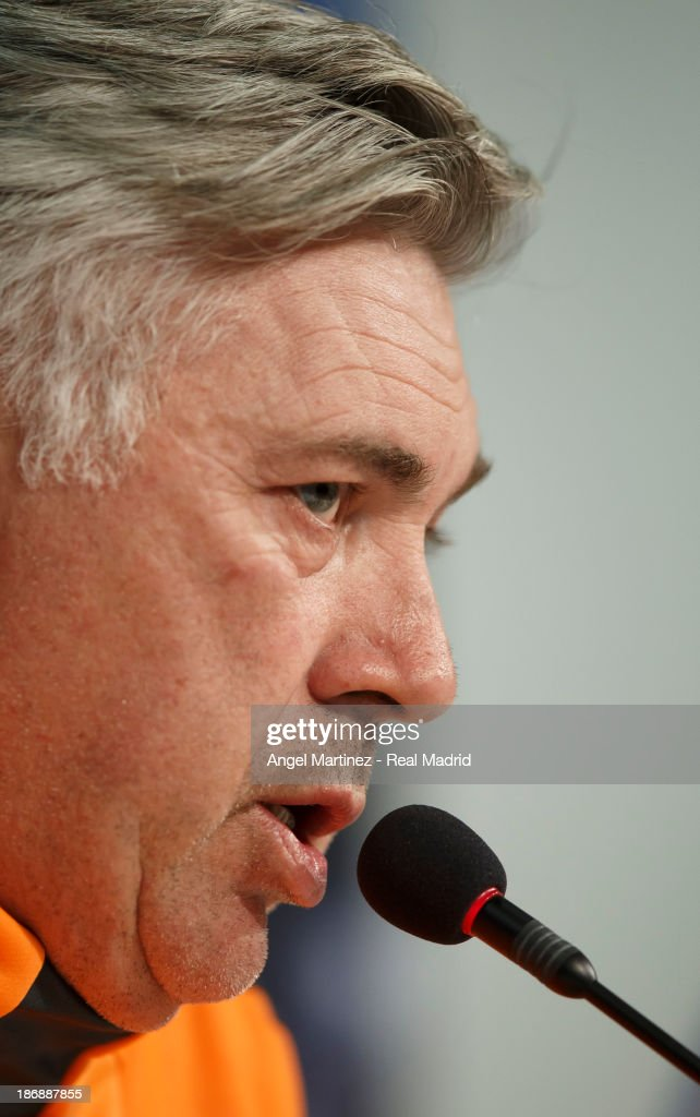Head coach Carlo Ancelotti of Real Madrid attends a press conference ahead of their UEFA Champions League Group B match against Juventus at Juventus Arena on November 4, 2013 in Turin, Italy.