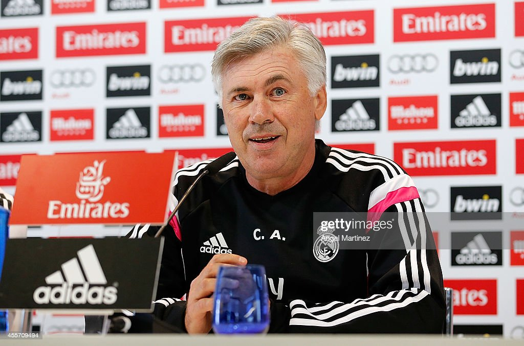 Head coach <a gi-track='captionPersonalityLinkClicked' href=/galleries/search?phrase=Carlo+Ancelotti&family=editorial&specificpeople=226747 ng-click='$event.stopPropagation()'>Carlo Ancelotti</a> of Real Madrid attends a press conference at Valdebebas training ground on September 19, 2014 in Madrid, Spain.