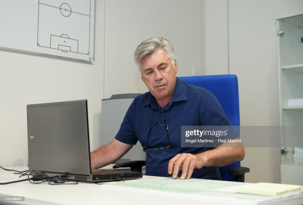 Head coach Carlo Ancelotti of Real Madrid begins his new role at Valdebebas training ground on July 14, 2013 in Madrid, Spain.