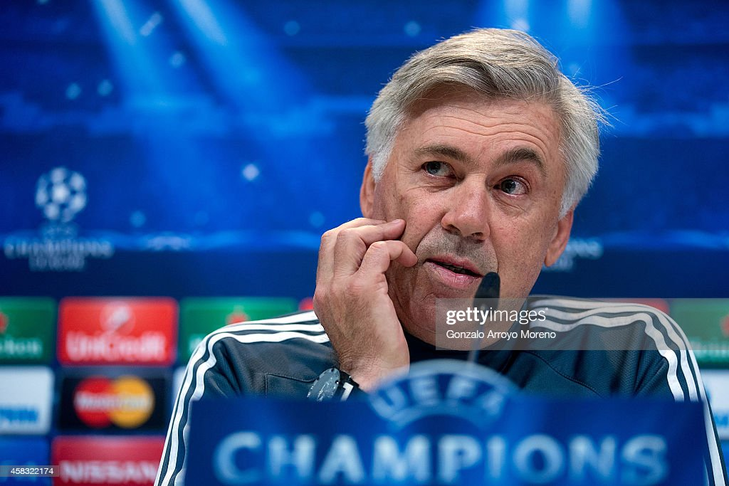 Head coach <a gi-track='captionPersonalityLinkClicked' href=/galleries/search?phrase=Carlo+Ancelotti&family=editorial&specificpeople=226747 ng-click='$event.stopPropagation()'>Carlo Ancelotti</a> of Real Madrid CF answers questions from the media during a press conference ahead of the UEFA Champions League match against Liverpool FC at Valdebebas training ground on November 3, 2014 in Madrid, Spain.