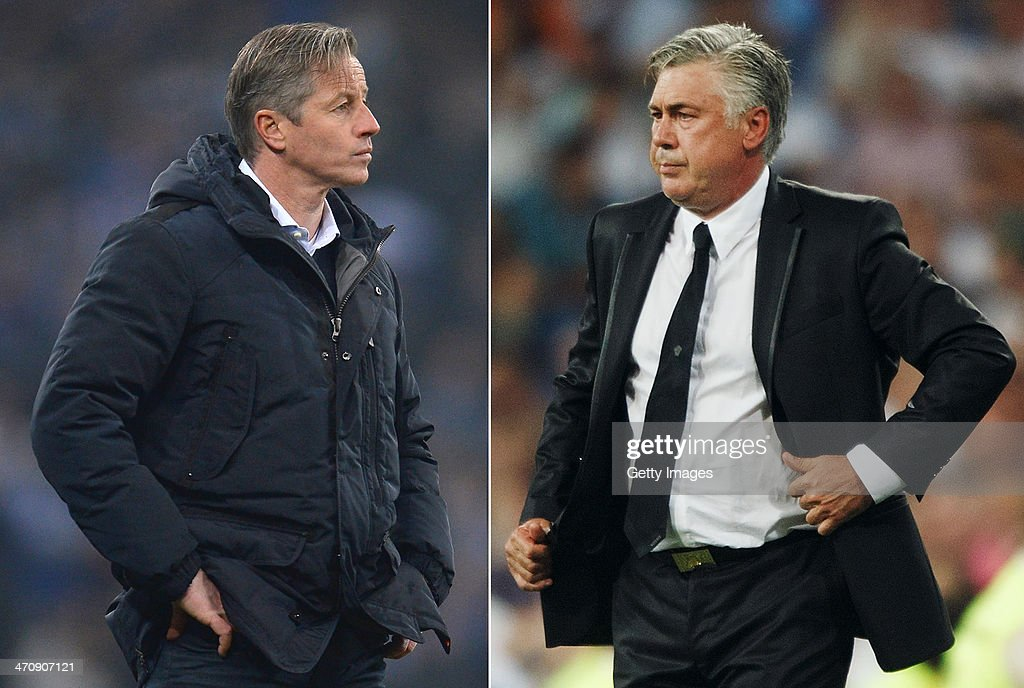 IMAGES - Image Numbers 453343937 (L) and 177089138) In this composite image a comparison has been made between Jens Keller, head coach of Schalke 04 (L) and head coach Carlo Ancelotti of Real Madrid. FC Schalke 04 and Real Madrid meet in the UEFA Champions League Round of 16 with the first leg on Febuary 26, 2014 and the 2nd leg on March 18, 2014. MADRID, SPAIN - AUGUST 18: head coach Carlo Ancelotti of Real Madrid CF during the La Liga match between Real Madrid CF and Real Betis Balompie at Estadio Santiago Bernabeu on August 18, 2013 in Madrid, Spain.