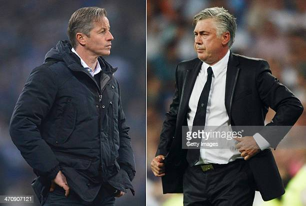 IMAGES Image Numbers 453343937 and 177089138 In this composite image a comparison has been made between Jens Keller head coach of Schalke 04 and head...