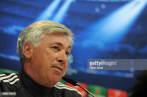 Head coach Carlo Ancelotti of Real Madrid holds a press conference at Valdebebas grounds ahead of the UEFA Champions League Quarter Final First Leg...