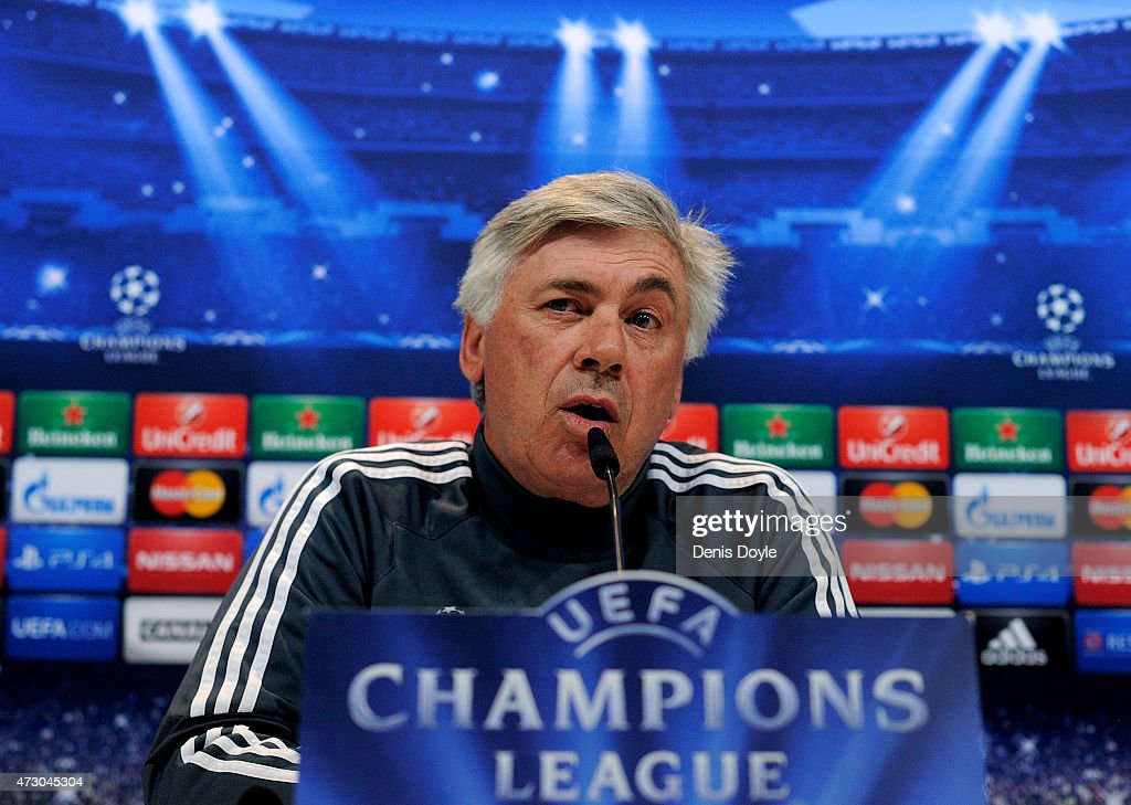 Head coach <a gi-track='captionPersonalityLinkClicked' href=/galleries/search?phrase=Carlo+Ancelotti&family=editorial&specificpeople=226747 ng-click='$event.stopPropagation()'>Carlo Ancelotti</a> of Real Madrid holds a press conference after the team training session ahead of the UEFA Champions League Semi Final, Second Leg against Juventus at Valdebebas training ground on May 12, 2015 in Madrid, Spain.