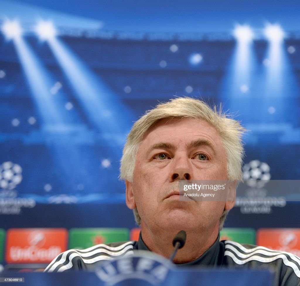 Head coach Carlo Ancelotti of Real Madrid holds a press conference after the team training session ahead of the UEFA Champions League Semi Final, Second Leg against Juventus at Valdebebas training ground on May 12, 2015 in Madrid, Spain.
