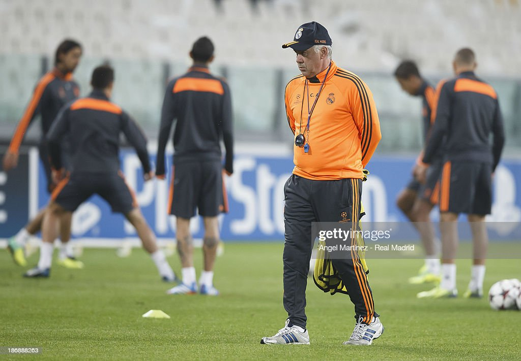 Head coach Carlo Ancelotti of Real Madrid looks on during a training session ahead of their UEFA Champions League Group B match against Juventus at Juventus Arena on November 4, 2013 in Turin, Italy.