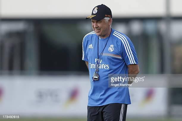 Head coach Carlo Ancelotti of Real Madrid looks on during his first training session at Valdebebas training ground on July 15 2013 in Madrid Spain