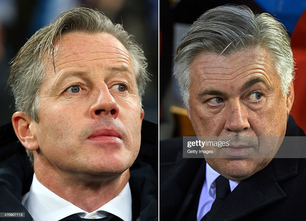 IMAGES - Image Numbers 455431111 (L) and 458918225) In this composite image a comparison has been made between Jens Keller, head coach of Schalke 04 (L) and head coach Carlo Ancelotti of Real Madrid. FC Schalke 04 and Real Madrid meet in the UEFA Champions League Round of 16 with the first leg on Febuary 26, 2014 and the 2nd leg on March 18, 2014. VALENCIA, SPAIN - DECEMBER 22: Head coach Carlo Ancelotti of Real Madrid looks on prior to the start the La Liga match between Valencia CF and Real Madrid CF at Estadio Mestalla on December 22, 2013 in Valencia, Spain.