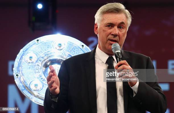 Head coach Carlo Ancelotti talks to the audience during the FC Bayern Muenchen Championship party following the Bundesliga match between Bayern...