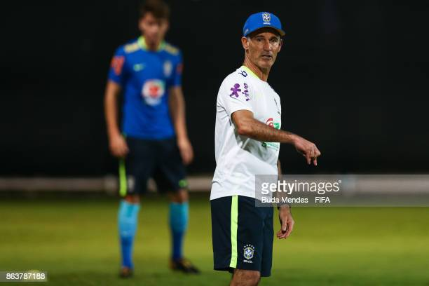 Head coach Carlos Amadeu of Brazil in action during the training session ahead of the FIFA U17 World Cup India 2017 tournament at Kolkata 2 Training...