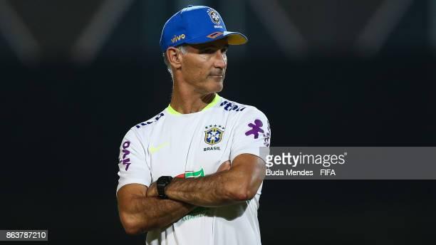 Head coach Carlos Amadeu of Brazil looks on during the training session ahead of the FIFA U17 World Cup India 2017 tournament at Kolkata 2 Training...