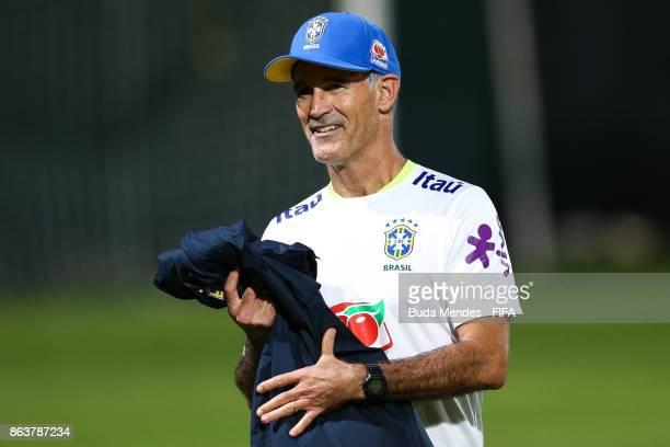Head coach Carlos Amadeu of Brazil smiles during the training session ahead of the FIFA U17 World Cup India 2017 tournament at Kolkata 2 Training...