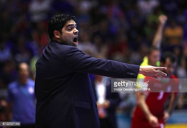 Head Coach Carlos Chilavert of Paraguay reacts during quarterfinal match play between Paraguay and Iran in the 2016 FIFA Futsal World Cup at Coliseo...