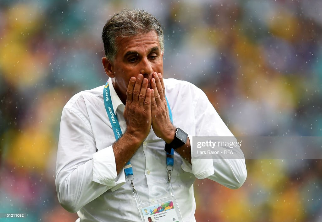 Head coach <a gi-track='captionPersonalityLinkClicked' href=/galleries/search?phrase=Carlos+Queiroz&family=editorial&specificpeople=211586 ng-click='$event.stopPropagation()'>Carlos Queiroz</a> of Iran gestures during the 2014 FIFA World Cup Brazil Group F match between Bosnia-Herzegovina and Iran at Arena Fonte Nova on June 25, 2014 in Salvador, Brazil.