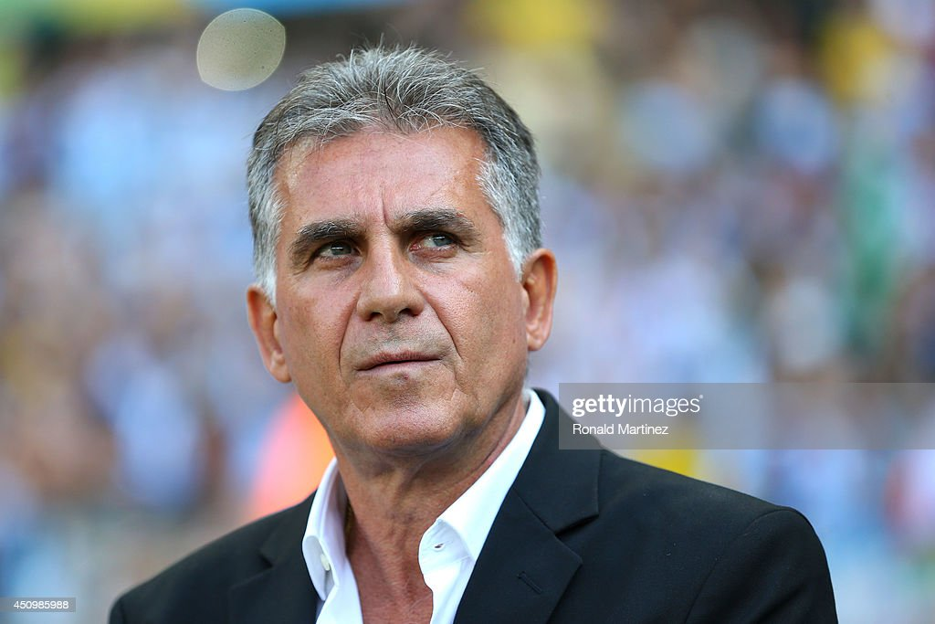 Head coach <a gi-track='captionPersonalityLinkClicked' href=/galleries/search?phrase=Carlos+Queiroz&family=editorial&specificpeople=211586 ng-click='$event.stopPropagation()'>Carlos Queiroz</a> of Iran looks on before the 2014 FIFA World Cup Brazil Group F match between Argentina and Iran at Estadio Mineirao on June 21, 2014 in Belo Horizonte, Brazil.