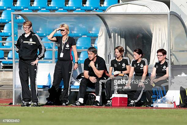 Head coach Carmen Holinka of Germany gesticulated during the Girl's Nordic Cup match between U16 Germany and U16 Norway at Kolding Stadium on June 30...