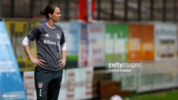 Head coach Carmen Roth of Bayern looks on during the B Junior Girl's German Championship Semi Final match between SV Meppen and Bayern Muenchen at...