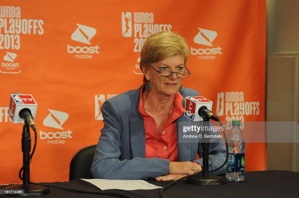 Head Coach Carol Ross of the Los Angeles Sparks answers questions from the media following her team's loss to the Phoenix Mercury In Game Three of the Western Conference Semifinal of the 2013 WNBA playoffs at Staples Center on September 23, 2013 in Los Angeles, California.