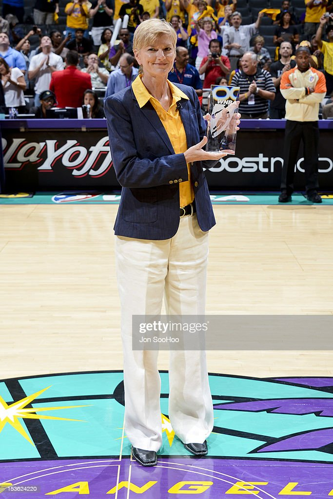 Head Coach Carol Ross of the Los Angeles Sparks poses with her award for Coach of the Year prior to Game Two of the WNBA Western Conference Finals against the Minnesota Lynx at Staples Center on October 7, 2012 in Los Angeles, California.