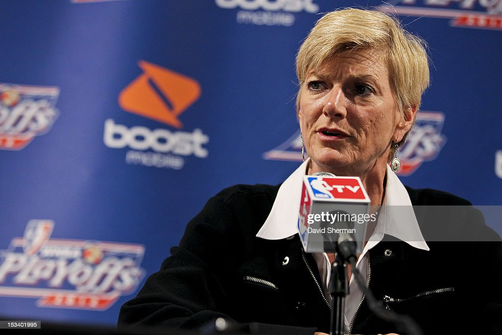 Head Coach Carol Ross of the Los Angeles Sparks speaks to the media after Game One of the 2012 WNBA Western Conference Finals against the Minnesota Lynx on October 4, 2012 at Target Center in Minneapolis, Minnesota.
