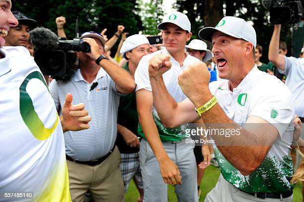 Head coach Casey Martin of Oregon celebrates winning the 2016 NCAA Division I Men's Golf Championship at Eugene Country Club on June 1 2016 in Eugene...