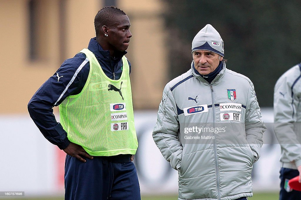 Head coach Cesare Prandelli and Mario Balotelli of Italy during a traning session at Coverciano on February 5, 2013 in Florence, Italy.