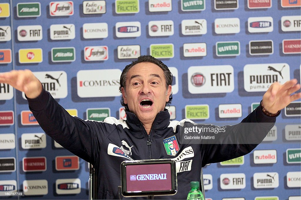 Head coach <a gi-track='captionPersonalityLinkClicked' href=/galleries/search?phrase=Cesare+Prandelli&family=editorial&specificpeople=742442 ng-click='$event.stopPropagation()'>Cesare Prandelli</a> attends a Italy press conference at Coverciano on February 5, 2013 in Florence, Italy.