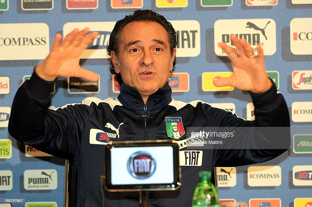 Head coach Cesare Prandelli attends a Italy press conference at Coverciano on February 5, 2013 in Florence, Italy.