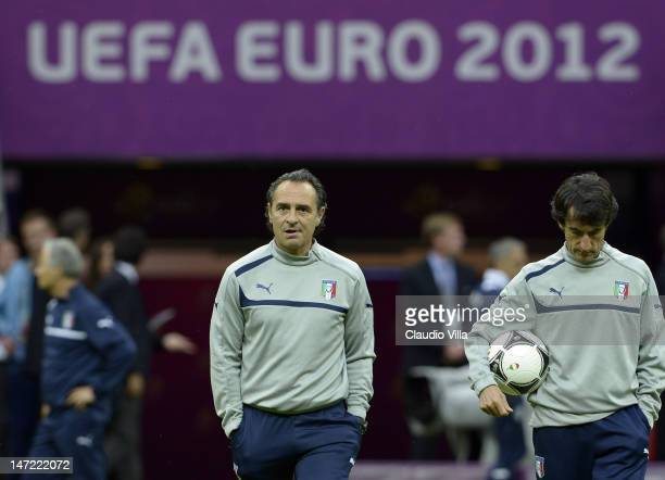 Head coach Cesare Prandelli during an Italy training session ahead of their UEFA EURO 2012 semifinal match against Germany at National Stadium on...