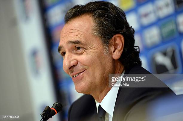 Head coach Cesare Prandelli of Italy attends a press conference ahead of their international friendly match against Germany at Coverciano on November...