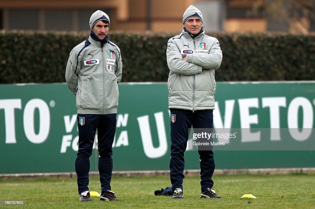 Head coach Cesare Prandelli of Italy during a traning session at Coverciano on February 5, 2013 in Florence, Italy.