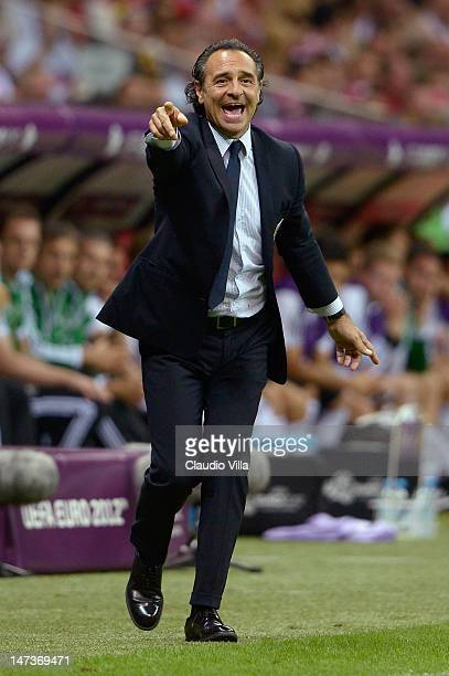Head Coach Cesare Prandelli of Italy issues instructions to his players from the touchline during the UEFA EURO 2012 semi final match between Germany...