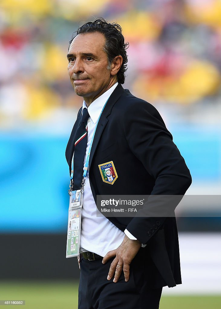 Head coach <a gi-track='captionPersonalityLinkClicked' href=/galleries/search?phrase=Cesare+Prandelli&family=editorial&specificpeople=742442 ng-click='$event.stopPropagation()'>Cesare Prandelli</a> of Italy looks on during the 2014 FIFA World Cup Brazil Group D match between Italy and Uruguay at Estadio das Dunas on June 24, 2014 in Natal, Brazil.