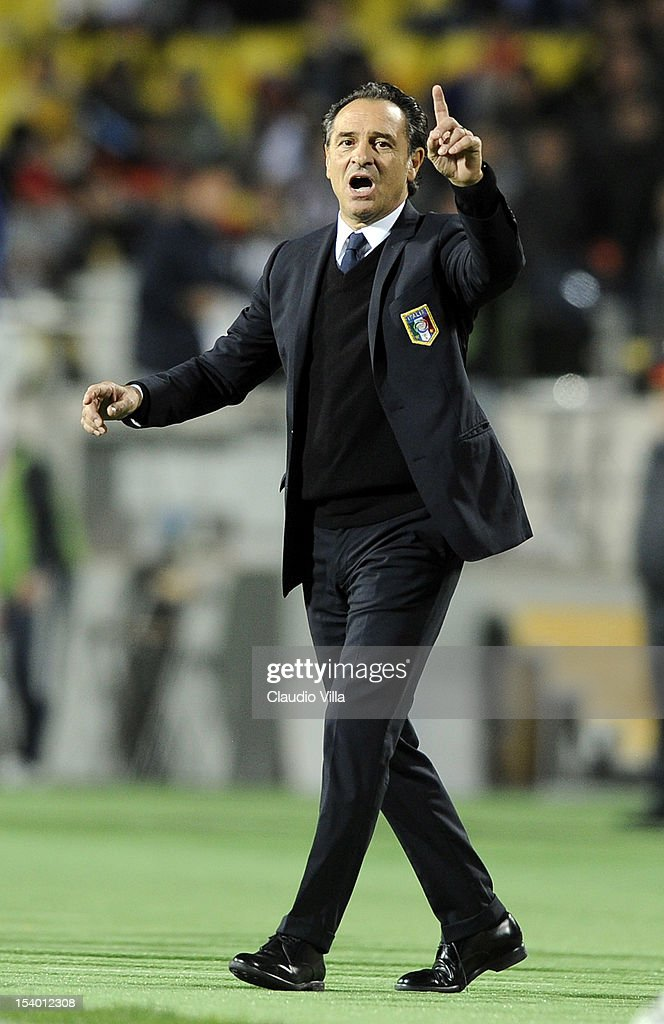 Head coach Cesare Prandelli of Italy reacts during the FIFA 2014 World Cup Qualifier group B match between Armenia and Italy at Hrazdan Stadium on October 12, 2012 in Yerevan, Armenia.