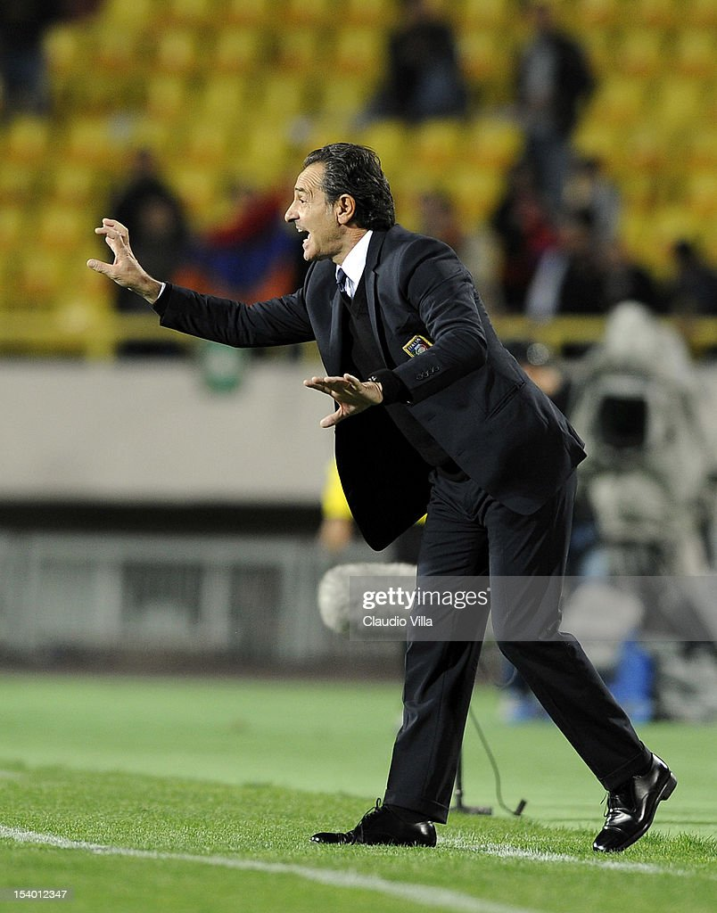 Head coach <a gi-track='captionPersonalityLinkClicked' href=/galleries/search?phrase=Cesare+Prandelli&family=editorial&specificpeople=742442 ng-click='$event.stopPropagation()'>Cesare Prandelli</a> of Italy reacts during the FIFA 2014 World Cup Qualifier group B match between Armenia and Italy at Hrazdan Stadium on October 12, 2012 in Yerevan, Armenia.