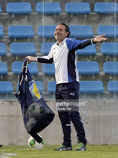 Head coach Cesare Prandelli of Italy smiles during an Italy training session at Estadio Presidente Vargas on June 25 2013 in Fortaleza Brazil