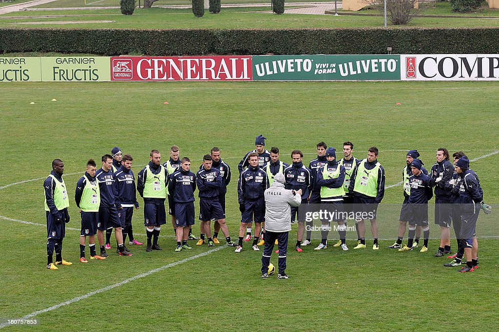 Head coach Cesare Prandelli with the Italian team during training at Coverciano on February 5, 2013 in Florence, Italy.
