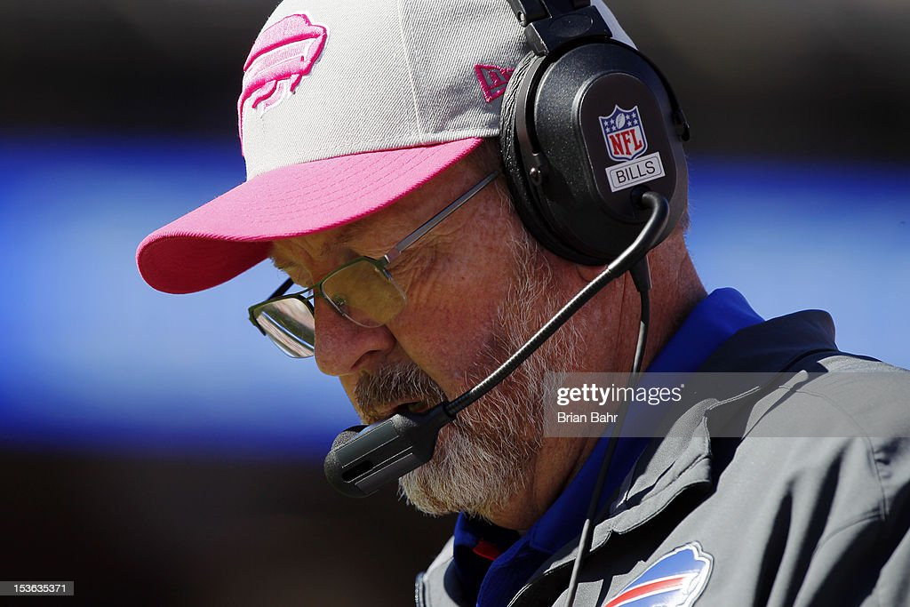 Head coach <a gi-track='captionPersonalityLinkClicked' href=/galleries/search?phrase=Chan+Gailey&family=editorial&specificpeople=2253963 ng-click='$event.stopPropagation()'>Chan Gailey</a> of the Buffalo Bills looks at his play chart during a game against the San Francisco 49ers in the second quarter on October 7, 2012 at Candlestick Park in San Francisco, California. The 49ers won 45-3.