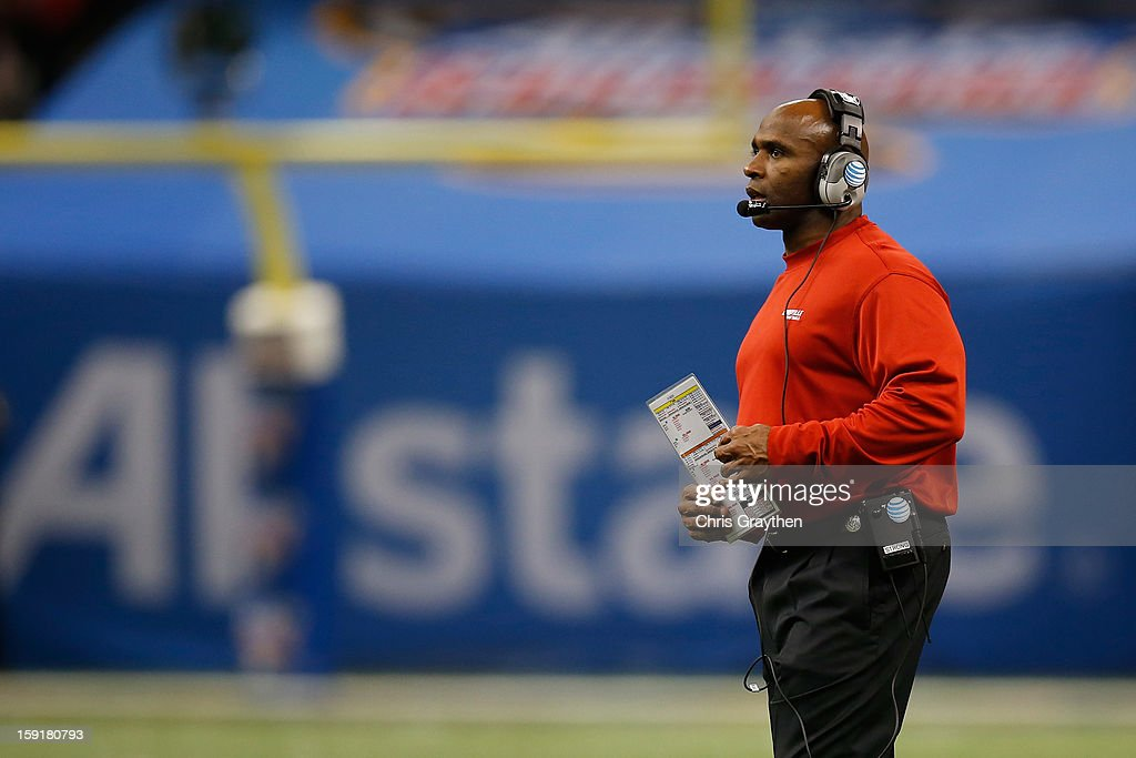 Head coach Charlie Strong of the Louisville Cardinals reacts during the Allstate Sugar Bowl against the Florida Gators at Mercedes-Benz Superdome on January 2, 2013 in New Orleans, Louisiana.
