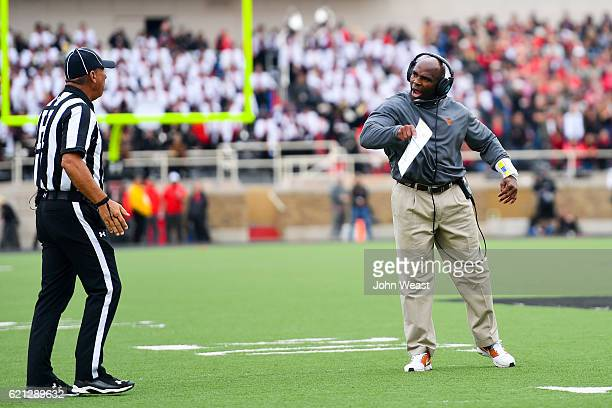 Head coach Charlie Strong of the Texas Longhorns argues a call during the game against the Texas Tech Red Raiders on November 5 2016 at ATT Jones...