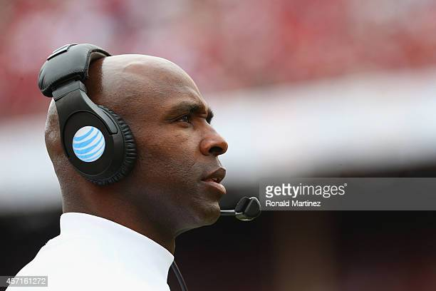 Head coach Charlie Strong of the Texas Longhorns at Cotton Bowl on October 11 2014 in Dallas Texas