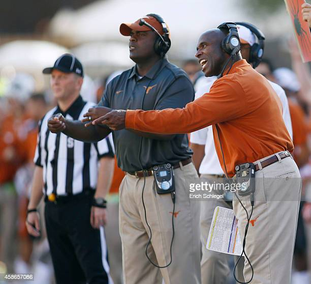 Head coach Charlie Strong of the Texas Longhorns calls out from the sideline during the NCAA Big 12 game against the Texas Longhorns on November 8...