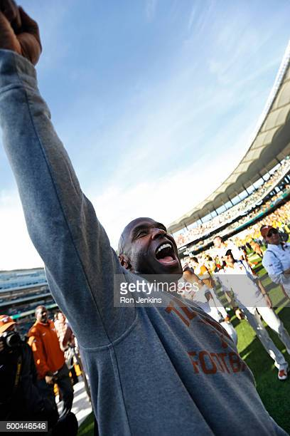 Head coach Charlie Strong of the Texas Longhorns celebrates after the Longhorns defeated the Baylor Bears 2317 at McLane Stadium on December 5 2015...