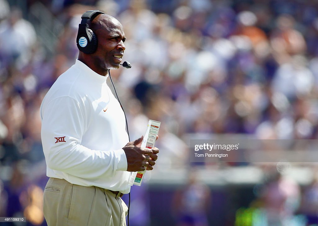 Head coach Charlie Strong of the Texas Longhorns looks on as the Longhorns take on the TCU Horned Frogs in the second half at Amon G Carter Stadium...