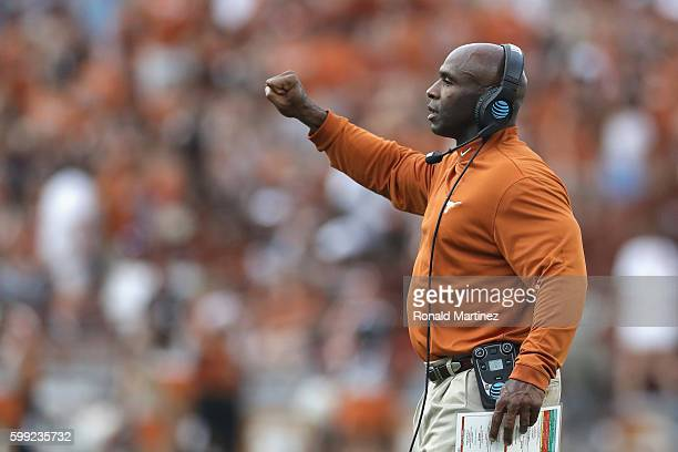 Head coach Charlie Strong of the Texas Longhorns reacts during the first half of the game against the Notre Dame Fighting Irish at Darrell K...