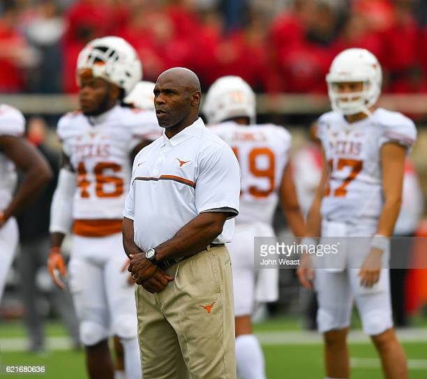 Head coach Charlie Strong of the Texas Longhorns watches his team warmup before the game against the Texas Tech Red Raiders on November 5 2016 at ATT...