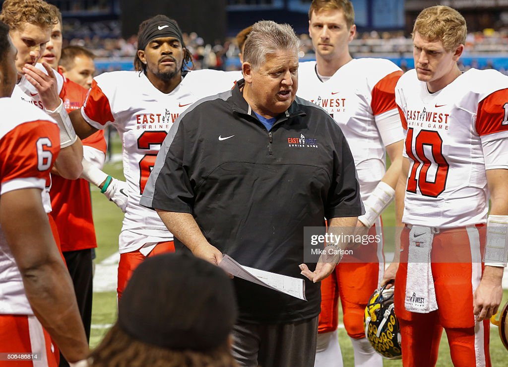 Head Coach Charlie Weiss of the East Team talks during the first half of the East West Shrine Game at Tropicana Field on January 23, 2016 in St. Petersburg, Florida.
